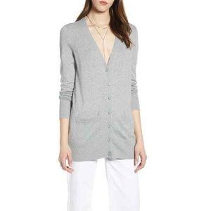 Halogen Merino Wool Button Front Cardigan Sweater